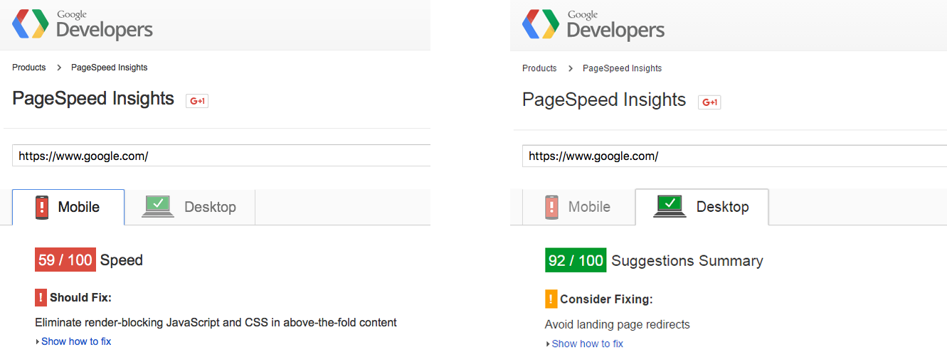page speed loading google